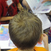 Globe/Roger Nomer<br /> Kindergartner Noah Wilcoxon sports a spikey hair for the first day of class at Cecil Floyd Elementary.