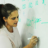 Globe/T. Rob Brown<br /> LaHeather Fisher, Joplin High School science teacher, simplifies the metric system for her Thursday morning biology class, Aug. 22, 2013, at the freshman and sophomore campus at Memorial.