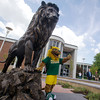 Globe/Roger Nomer<br /> Roary the Missouri Southern mascot give the new Lion Icon statue the thumbs up after its unveiling in front of Billingsly Student Center on Monday afternoon.
