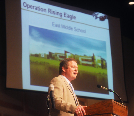 Globe/Roger Nomer<br /> Joplin Superintendent CJ Huff talks about some of the new buildings soon to open in the district at College Heights Christian Church during Tuesday's Opening Day rally.