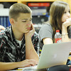 Globe/T. Rob Brown<br /> Sophomore Jackson Divilbiss uses his laptop for classwork in LaHeather Fisher's biology class Thursday morning, Aug. 22, 2013, at the Joplin High School freshman and sophomore campus at Memorial.