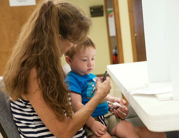 Globe/Roger Nomer<br /> Bev Hankins puts a voting sticker on her great grandson Brayden Weber, 17 months, during Tuesday's primary at the Redings Mill Fire Department.
