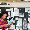 Globe/Roger Nomer<br /> Dola Flake works on a history exhibit on Friday at the Joplin Community Center.
