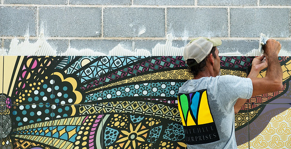 Globe/Roger Nomer<br /> Ken Slankard, with Whitehill Enterprises, installs a butterfly mural at Mercy Park on Tuesday.