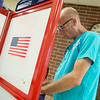 Globe/Roger Nomer<br /> Charles Redfern-Peterson votes in Tuesday's primary at the Housing Authority of Joplin.