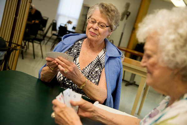 Globe/Roger Nomer<br /> Mary Lou York, Webb City, left, and Ruby Long, Joplin, play a game of Pitch on Monday at the Joplin Senior Center.
