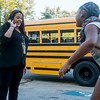 Globe/Roger Nomer<br /> Jessica Vaughan, behavior specialist at McKinley Elementary, greets students as they arrive for the first day of school on Thursday.