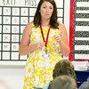 Fifth grade teacher Holi Sears speaks to her class on the first day of school on Thursday at Seneca Elementary.<br /> Globe | Laurie Sisk