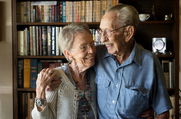 Globe/Roger Nomer<br /> Veteran Neal Ruff, shown here with wife Crystal, turns 100 today.
