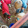 Globe/Roger Nomer<br /> Mason Brown, 12, Lamar, helps Cash Brown, 3, Lamar, feed his goat on Thursday at the Lamar Free Fair.