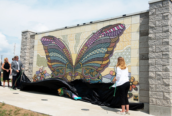 Globe/Roger Nomer<br /> The butterfly mural in Mercy Park is unveiled on Wednesday.