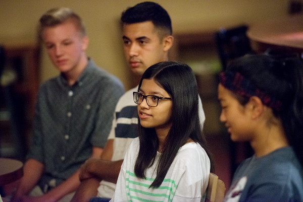 Globe/Roger Nomer<br /> Farhath Sulthana, Joplin High senior, talks about qualities she'd like to see in a new superintendent during a forum on Wednesday at Jopiln Avenue Coffee.