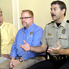 Jasper County Sheriff Randee Kaiser, right, talks about the problems law enforcement faces in dealing with prescription drugs during a blue ribbon panel on prescription drug monitoring during a Kiwanis Club meeting on Tuesday at Twin Hills Golf and Country Club Also pictured, from the left: Dr. Eric VanHolten, of Freeman Health Systems and Rep. Charlie Davis. <br /> Globe | Laurie Sisk