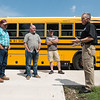 Globe/Roger Nomer<br /> Bill Minner, transportation security specialist with Homeland Security, talks about bus safety with Carl Junction bus drivers on Tuesday afternoon.