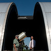 Globe/Roger Nomer<br /> Walter Powell, left, and Zach Harris, Lamar superintendent, talk about the new telescope at the Stilabower Public Observatory on Wednesday in Lamar.