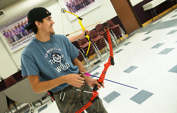 Globe/Roger Nomer<br /> Christopher Lingenfelter practices on Friday at Sarcoxie High School.