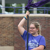 Globe/Roger Nomer<br /> Pittsburg High School color guard member Hayden Stevens, freshman, practices drills on Monday at Hutchinson Field.