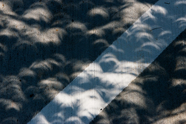 Globe/Roger Nomer<br /> Slices of shadows show across the pavement during Monday's solar eclipse in Joplin.