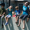 Globe/Roger Nomer<br /> Children watch as the solar eclipse nears its peak on Monday at the Joplin Public Library.