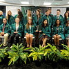Members of the inaugural class of the Yours to Lose Advanced Medical School Acceptance Program get ready for a class portrait during a green coat ceremony and commitment signing on Saturday at MSSU.<br /> Globe | Laurie Sisk