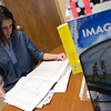 Globe/Roger Nomer<br /> Naomi Ellis, a College of the Ozarks sophomore from Holts Summit, Mo., works in the Public Relations Department on Thursday.