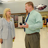 New Joplin Superintendent Melinda Moss chats with South Middle School Principal Chris Mitchell on the first day of class on Thursday at SMS.<br /> Globe | Laurie Sisk