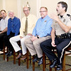 Jasper County Sheriff Randee Kaiser, right, talks about the problems law enforcement faces in dealing with prescription drugs during a blue ribbon panel on prescription drug monitoring during a Kiwanis Club meeting on Tuesday at Twin Hills Golf and Country Club Also pictured, from the left: David Schecht,  xxx, Mickey Boles, Walmart Neighborhood Market Pharmacy managaer, Dr. Eric VanHolten, of Freeman Health Systems and Rep. Charlie Davis. <br /> Globe | Laurie Sisk