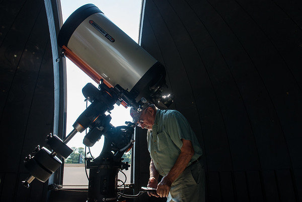Globe/Roger Nomer<br /> Walter Powell talks about the new telescope at the Stilabower Public Observatory on Wednesday in Lamar.