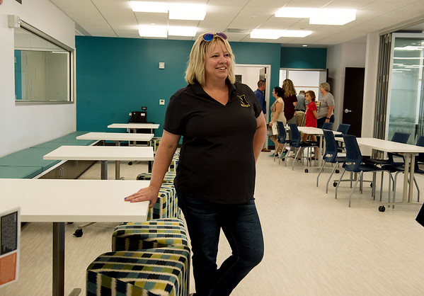 Globe/Roger Nomer<br /> Julie Merriman, special education teacher at Neosho Junior High School, gives a tour of a neighborhood, an flexible space classroom, on Thursday.