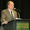 Dr. Ed O'Connor, provost of the Kansas City University of Medicine and Biosciences, Dr. James Donaldson, department head of Chemical and Physical Sciences at Missouri Southern State University, welcomes the inaugural class of the Yours to Lose Advanced Medical School Acceptance Program during a green coat ceremony and commitment signing on Saturday at MSSU.<br /> Globe | Laurie Sisk