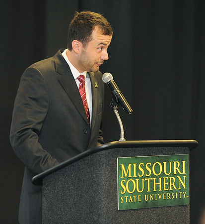 Dr. James Donaldson, department head of Chemical and Physical Sciences at Missouri Southern State University, welcomes the inaugural class of the Yours to Lose Advanced Medical School Acceptance Program during a green coat ceremony and commitment signing on Saturday at MSSU.<br /> Globe | Laurie Sisk