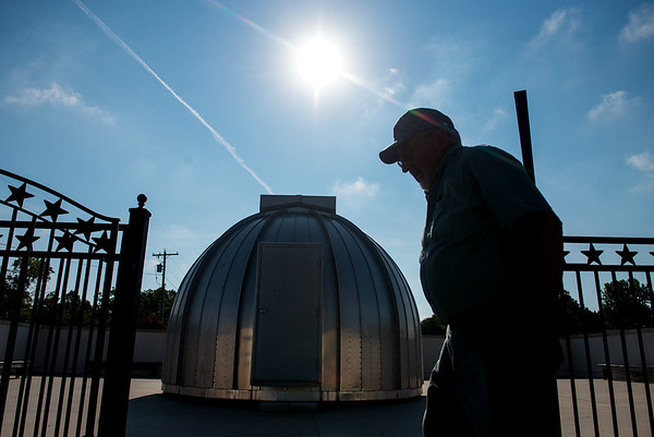 Globe/Roger Nomer<br /> Walter Powell closes the gate at the Stilabower Public Observatory on Wednesday in Lamar.