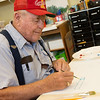 Globe/Roger Nomer<br /> Galen Culver, Riverton, paints during a Memories in the Making class on Thursday at Spiva Center for the Arts.