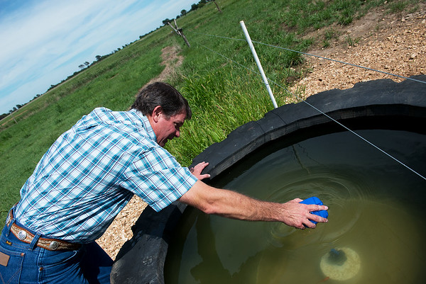 Globe/Roger Nomer<br /> \John Kleiboeker checks a water trough at his farm near Pierce City during a meeting on Thursday.