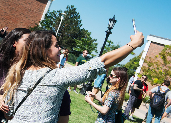 Globe/Roger Nomer<br /> Melissa Serrano, a Missouri Southern senior from Monett, takes a photo with a group of fellow dental hygiene on Monday during Missouri Southern's Welcome Week Picnic.