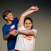 "Globe/Roger Nomer<br /> Jace Harrison, sixth grade, and Franchesca Brownhanney, freshman, practice a turn while rehearsing ""All Shook Up"" on Monday at Pittsburg Memorial Auditorium."