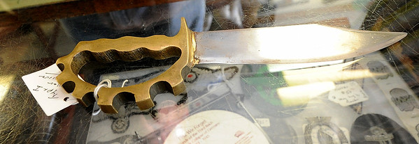 Pictured is an Australian combat knife complete with brass knuckles on the handle.<br /> Globe | Laurie Sisk