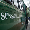 Globe/Roger Nomer<br /> Passengers board the Sunshine Lamp Trolley on Tuesday morning.