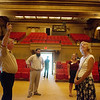 Richard Lowrey, executive secretary at the Scottish Rite Cathedral, left, gives a tour of the building to a group of new Missouri Southern faculty on Tuesday afternoon. The faculty toured historic and notable sites in Joplin.<br /> Globe   Roger Nomer