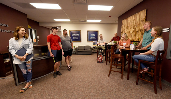 Ozark Christian College student ambassadors meet with prospective students on Wednesday at OCC.<br /> Globe | Laurie Sisk