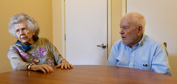 From the left: Florlene and Frank Young discuss the challenges of Alzheimer's on Tuesday at College View Manor. Frank is Florlene's primary caretaker as Florlene battles Alzheimer's.<br /> Globe   Laurie Sisk