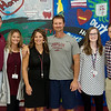(from left) Married couples Michael and Katie Juergens, Jeni and Jason Vieselmeyer and Shawna and Cody Brooks teach at North Middle School.<br /> Globe | Roger Nomer