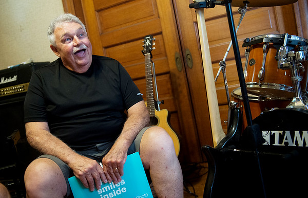 "Bob ""Hop"" Poole talks about his experience playing at Cornstalk during an interview on Monday.<br /> Globe 