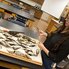 Christine Brodsky, assistant professor of biology at Pittsburg State University, talks about species of birds commonly found in the area on Thursday at PSU.<br /> Globe | Roger Nomer