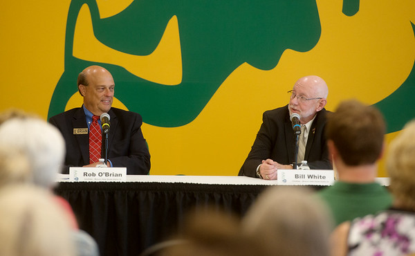 Missouri Senate candidates Rob O'Brian and Bill White talk during Thursday's forum at Missouri Southern.<br /> Globe | Roger Nomer