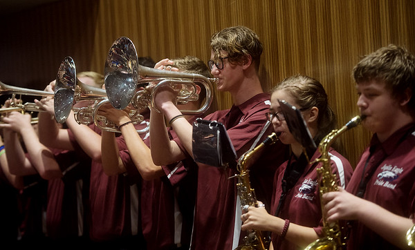 Members of the Joplin Eagle Pride Band perform the school's fight song during Monday's back-to-school rally at Joplin High School.<br /> Globe | Roger Nomer