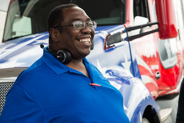 Darrell Bogan, CFI True to the Troops driver, looks over the new trucks at CFI on Tuesday.<br /> Globe | Roger Nomer