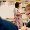 Cathy Morris teaches her third graders on Wednesday at College Heights Christian School.<br /> Globe | Roger Nomer