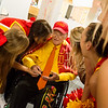 Jack Overman talks with Pittsburg State University yell leaders during his 100th birthday celebration on Thursday at the Overman Student Center.<br /> Globe | Roger Nomer