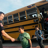 Joplin Police Captain Joe Moore greets students at Soaring Heights Elementary on Thursday.<br /> Globe | Roger Nomer